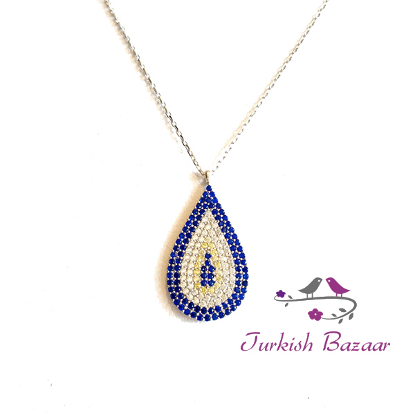 Turkish Evil Eye Silver Necklace Gumus Nazar Boncuk
