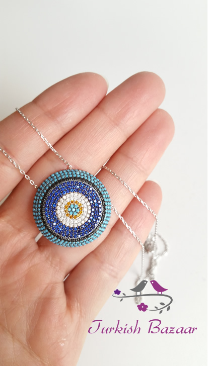 Turkish Evil Eye Silver Necklace With Nano Turquoise