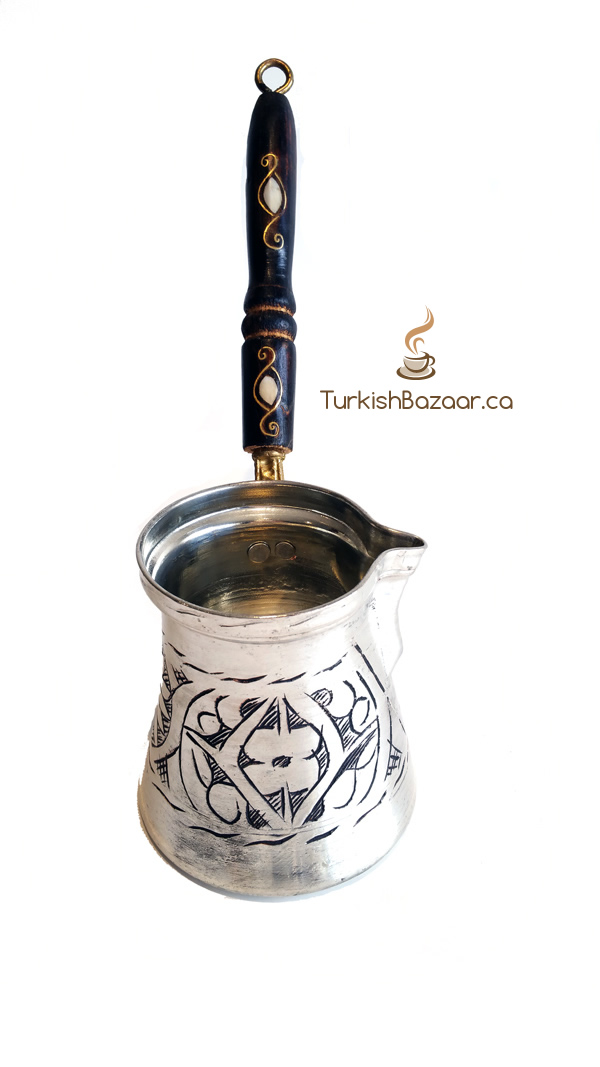 Stylish Hand Carved X Large Turkish Coffee Copper Pot El