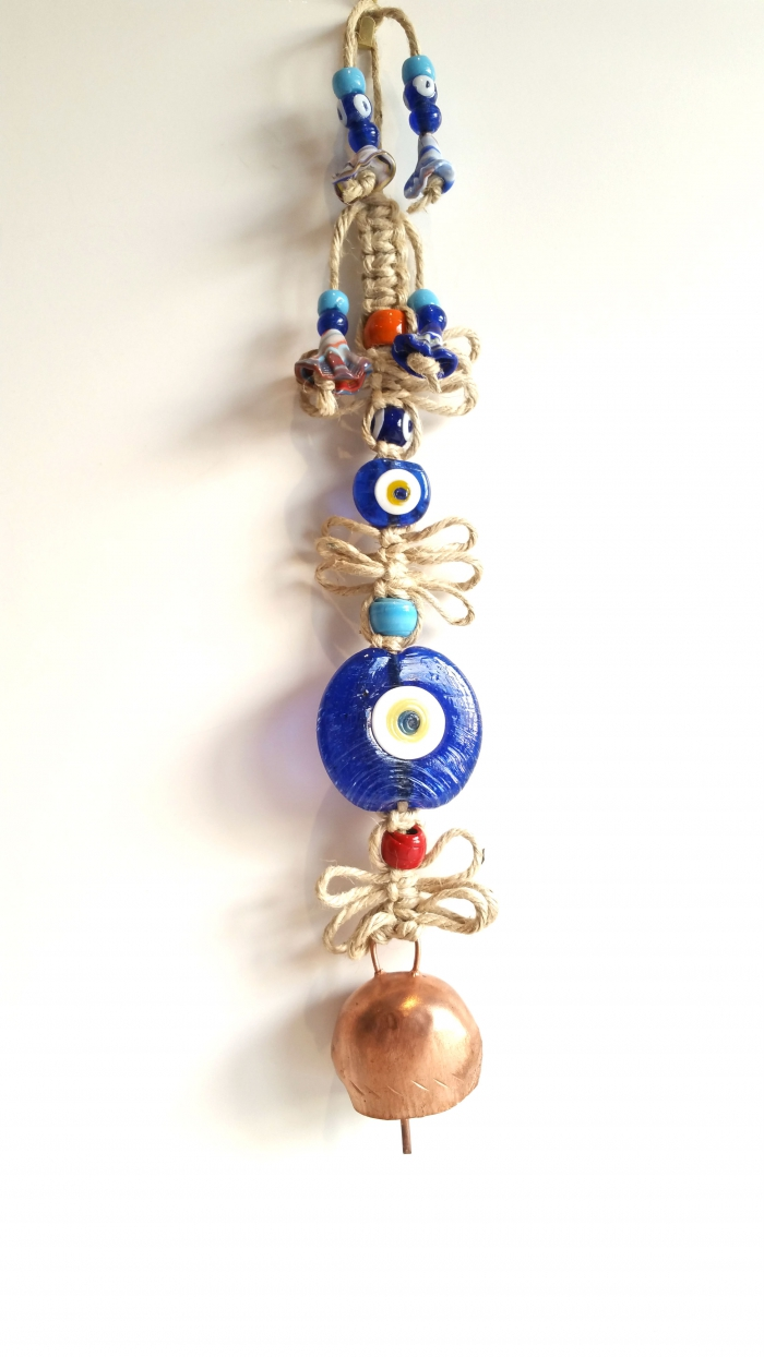 Turkish evil eye handmade wall decoration with bell canli turkish canada evil eye wall decoration blue malocchio mau olhado charm toronto canada nazar boncugu bileklik amipublicfo Gallery